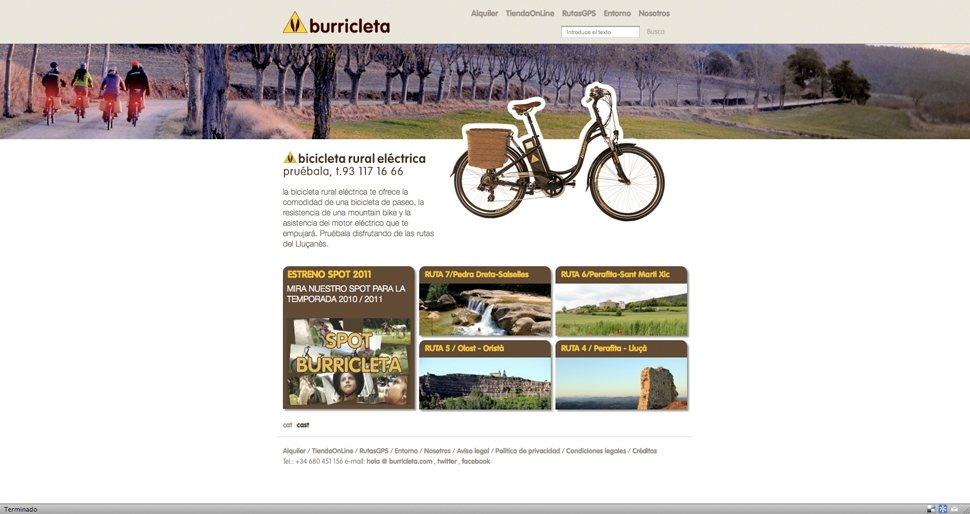 Burricleta, Web corporativa y campañas de difusión, Web corporativa y de descarga de rutas, lanzamiento de la marca y promociones para la empresa de alquiler de bicicletas eléctricas en entornos rurales.Copy y gráfica estratégica para la web.